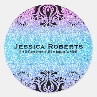 Colorful Faux Glitter & Black Lace Classic Round Sticker