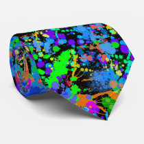 Colorful, Faux Neon, Paintball, Fun Neck Tie