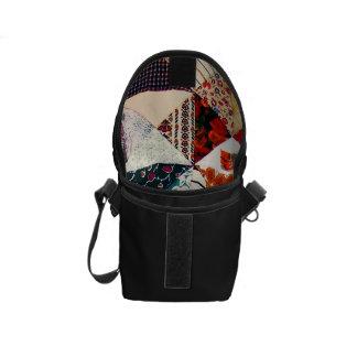 Colorful Faux Patchwork Quilt Pattern - Black Messenger Bags