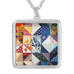 Colorful Faux Patchwork Quilt Pattern Necklace