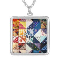 Colorful Faux Patchwork Quilt Pattern Silver Plated Necklace
