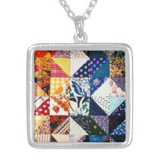 Colorful Faux Patchwork Quilt Pattern Square Pendant Necklace