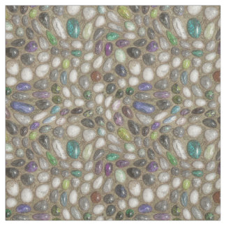 Colorful Faux Shiny 3D River Rock Stones Pattern Fabric