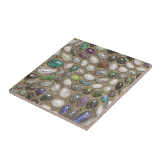 Colorful Faux Shiny 3D River Rock Stones Pattern Tile