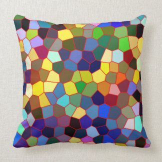 Colorful Faux Stained Glass Look 2 Throw Pillow