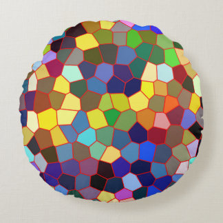 Colorful Fax Stained Glass Look Round Pillow