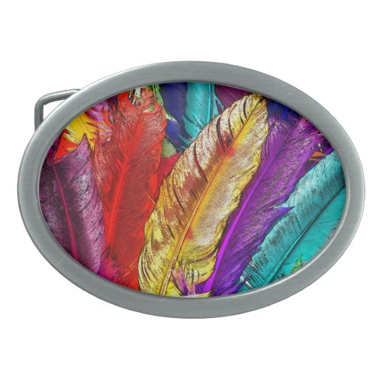 COLORFUL FEATHERS Belt Buckle