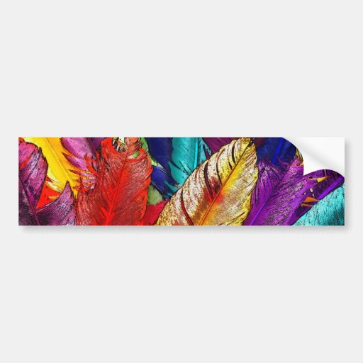 COLORFUL FEATHERS Bumper Sticker