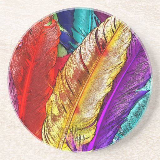 COLORFUL FEATHERS Coaster