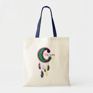 Colorful Feathers Dream Catcher Illustration Tote Bag