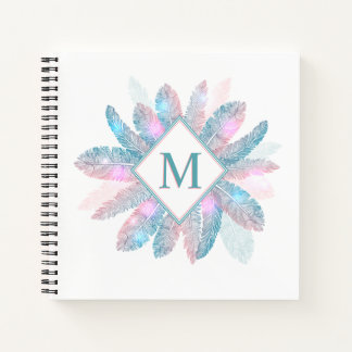 Colorful Feathers Frame Monogram Notebook