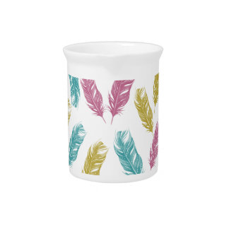 Colorful Feathers pattern Beverage Pitchers