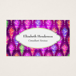 Colorful Feathers Repeating Pattern Business Card