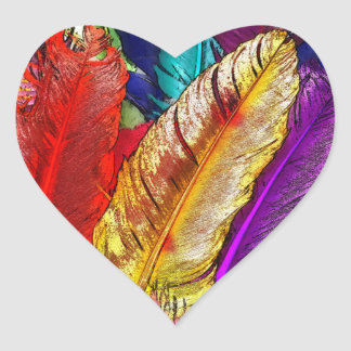 COLORFUL FEATHERS HEART STICKERS