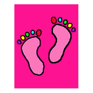 Colorful Feet Cartoon Fluorescent Pink Background. Postcard