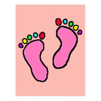 Colorful Feet Cartoon Melon Background. Postcard