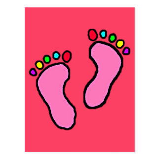 Colorful Feet Cartoon Neon Fuchsia Background. Postcard