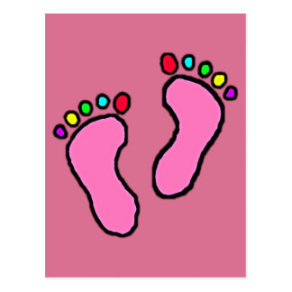 Colorful Feet Cartoon Pale Red Violet Background. Postcard