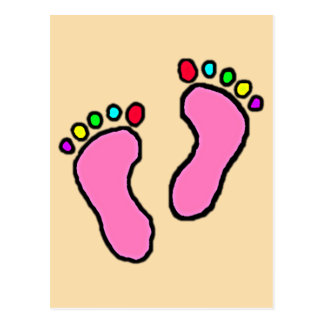 Colorful Feet Cartoon Peach Yellow Background. Postcard
