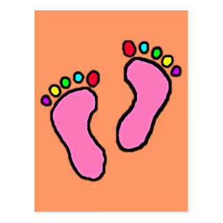 Colorful Feet Cartoon Pink Orange Background. Postcard