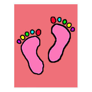 Colorful Feet Cartoon Postcard