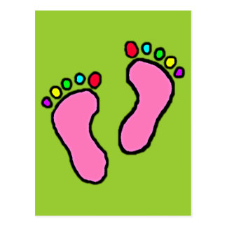 Colorful Feet Cartoon Yellow Green Background. Postcard
