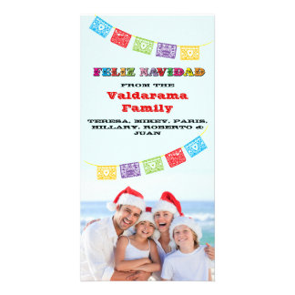 Colorful Feliz Navidad Photo card with Banners