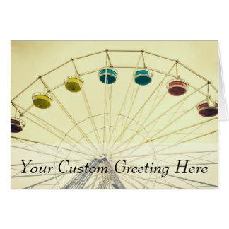Colorful Ferris Wheel, Green Photograph Card