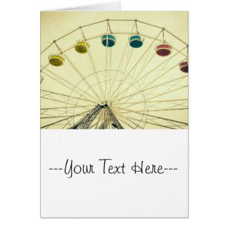 Colorful Ferris Wheel, Green Photograph Greeting Card