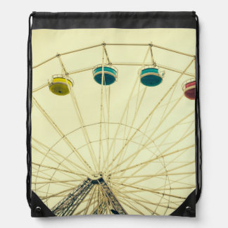 Colorful Ferris Wheel, Green Photograph Drawstring Backpacks
