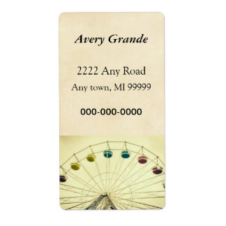 Colorful Ferris Wheel, Green Photograph Labels