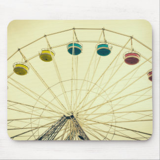 Colorful Ferris Wheel, Green Photograph Mouse Pads