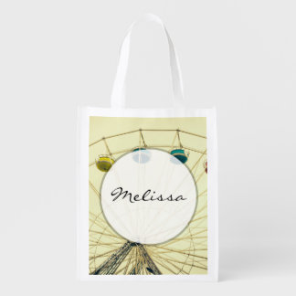 Colorful Ferris Wheel, Green Photograph Reusable Grocery Bag