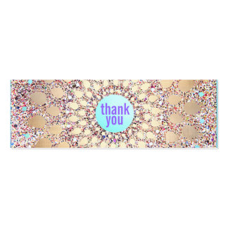 Colorful Festive Glitter Purple Thank You Insert Double-Sided Mini Business Cards (Pack Of 20)