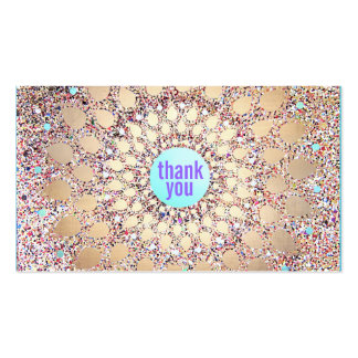 Colorful Festive Glitter Purple Thank You Insert Double-Sided Standard Business Cards (Pack Of 100)