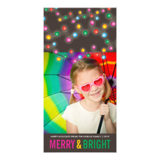 Colorful Festive Lights Glow Holiday Photo Card