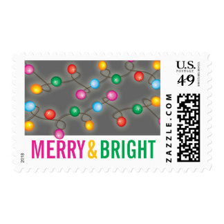 Colorful Festive Lights Glow Holiday Stamps