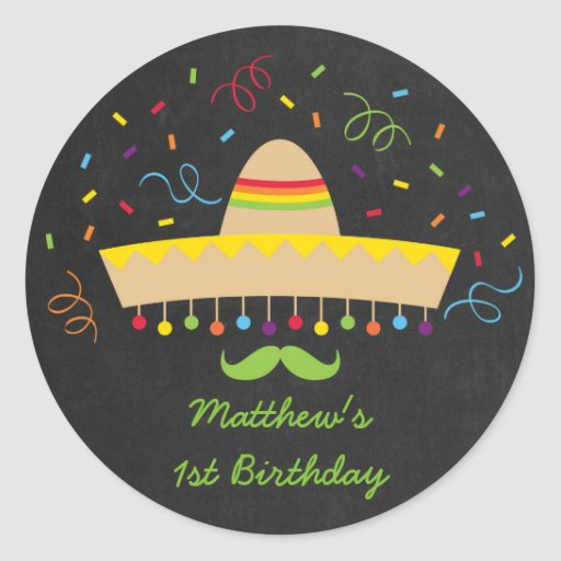 Colorful Fiesta Chalkboard Classic Round Sticker