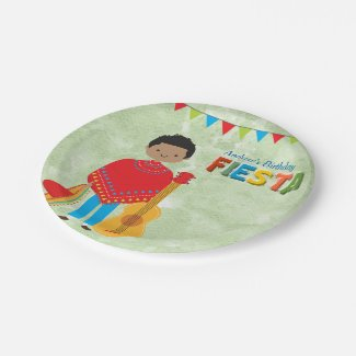 Colorful Fiesta Kids Birthday Party Paper Plate