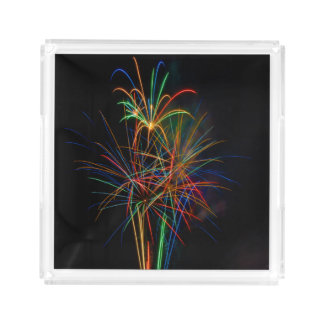 Colorful fireworks acrylic tray