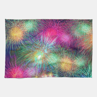 Colorful fireworks hand towels