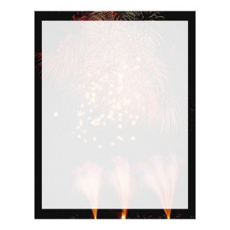 Colorful fireworks in celebration letterhead template