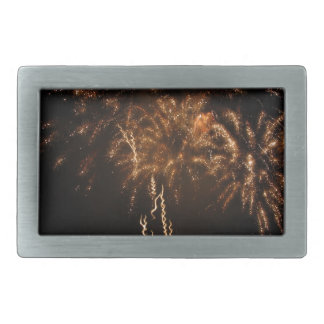Colorful fireworks of various colors in the night rectangular belt buckle