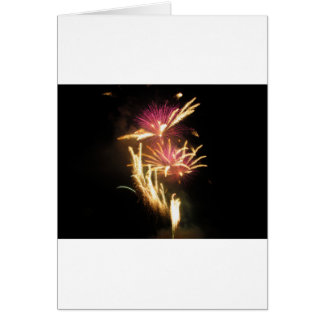 Colorful fireworks of various colors light up the card
