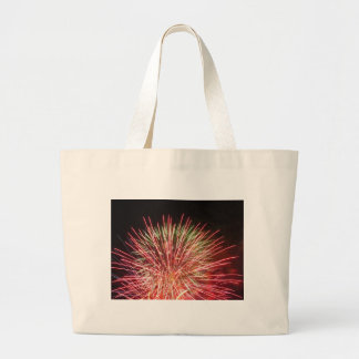 Colorful fireworks of various colors light up the jumbo tote bag