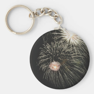 Colorful fireworks of various colors light up the keychain