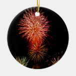 Colorful fireworks of various colors light up the Double-Sided ceramic round christmas ornament