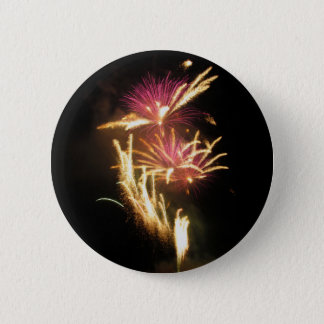 Colorful fireworks of various colors light up the pinback button
