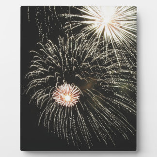 Colorful fireworks of various colors light up the plaque