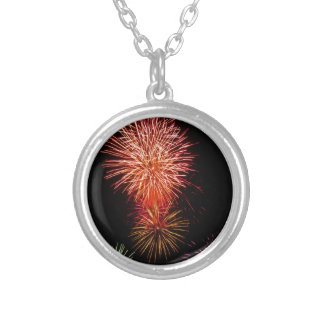 Colorful fireworks of various colors light up the silver plated necklace